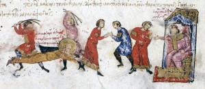Martyrdom of the iconophile Euthymios of Sardis, from the 12th-century Madrid Skylitzes manuscript, Wikimedia Commons.